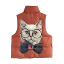 Lovely Cat Patchwork Stand-Up Collar Zip Placket Padded Vest