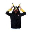 Cool Long Sleeves Contrast Cuffs Cartoon Monster Printed Ears Hoodie with Pockets & Zipper