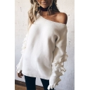 Simple Plain V-Neck Ruffle Hem Long Sleeve Pullover Sweater
