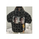 Stylish Allover Geometric Portrait Pattern Long Sleeves Zippered Hooded Quilted Coat with Pockets