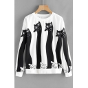 Popular Cats Pattern Round Neck Long Sleeves Pullover Monochrome Sweatshirt