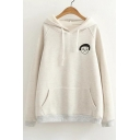 Simple Girl Face Embroidery Long Sleeves Pullover Hoodie with Pocket