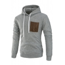 New Fashion Color Block Print Drawstring Hood Long Sleeve Hoodie