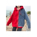 Trendy Color Block Patchwork Long Sleeves Zippered Hooded Ripped Denim Loose Coat with Pockets