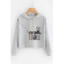 Fashion Camera Print Drawstring Hood Long Sleeve Cropped Hoodie