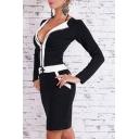 Sexy Color Block Zipper-Front Long Sleeves Drawstring Waist Mini Pencil Dress