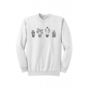 Simple Cactus Plants Printed Round Neck Long Sleeves Pullover Sweatshirt