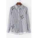 Floral Embroidered Striped Lapel Long Sleeve Buttons Down Shirt