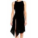 Simple Plain Split Side Asymmetric Hem Sleeveless A-Line Mini Dress
