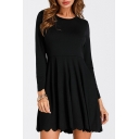 New Trendy Simple Plain Round Neck Long Sleeve Dress