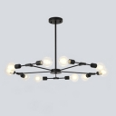 Industrial 10-Light Chandelier 37.8''W in Bare Bulb Style, Black