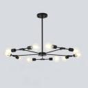 Industrial 10-Light Chandelier 37.8''W in Bare Bulb Style, Black