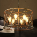 Industrial Vintage 23''W Chandelier with Metal Cage, 6 Light