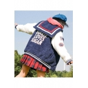 Cclor Block Letter Badge Embroidered Navy Collar Long Sleeve Baseball Coat