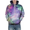 Fashion Galaxy Print Long Sleeve Loose Hoodie