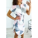 Women's Color Block V-Neck Short Sleeve Pencil Mini Dress