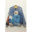Fabulous Oil-Painting Old Man Printed Long Sleeves Button Down Loose Baseball Jacket