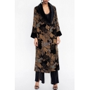 Chic Floral V Neck Long Sleeve Tie Waist Kimono Midi Coat