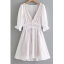Popular Floral Lace Panel V-Neck Gathered Cuffs Buttons Bow Tie-Front A-line Pleated Mini Dress