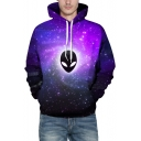Chic Alien Galaxy Printed Long Sleeves Pullover Hoodie with Pocket