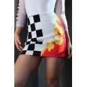 Hot Sale Color Block Plaid Fire Print Zipper A-Line Mini Skirt