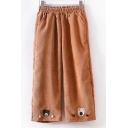 Cute Bear Pattern Elastic Waist Wide Leg Pants