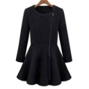 Simple Plain Collarless Long Sleeve Zip Up Ruffle Hem Tunic Coat