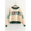 Lovely Cartoon Cow Print Color Block Dropped Shoulder Round Neck Pullover Sweatshirt