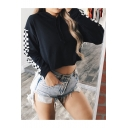 Hot Fashion Gingham Plaids Pattern Long Sleeves Pullover Cropped Loose Hoodie