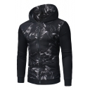 Fashion Abstract Print Long Sleeve Zipper Hooded Coat