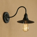 Industrial 7.09''W Wall Sconce with Gooseneck Fixture Arm, Black