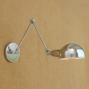 Industrial Adjustable Wall Sconce with Bowl Shade, Chrome