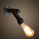 Industrial Simple Wall Sconce in Bare Bulb Style, Black