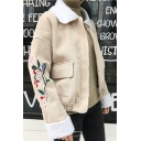 New Stylish Floral Embroidered Long Sleeve Zipper Contrast Collar Coat