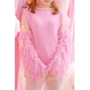 Girly Boat Neck Lace Insert Faux Fur Long Sleeves Patchwork Knitted Pullover Sweater