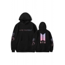 Stylish Letter Geometric Printed Long Sleeves Pullover Hoodie with Pocket