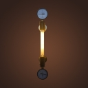 Industrial Wall Sconce with Pressure Gauge in Pipe Style, Bronze