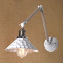 Industrial Adjustable Wall Sconce with Rope Fixture Arm, White