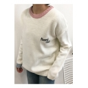 Stylish Letter Pattern Long Sleeve Contrast Neck Trim Pullover Sweater