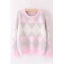 Chic Color Block Rhombus Print Round Neck Long Sleeve Pullover Sweater