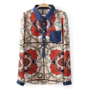 Baroque Style Kaleidoscope Printed Long Sleeves Point Collar Button-Down Leisure Shirt with Chest Pocket