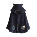 Fashion Plaid Pocket Doll Embellished Single Breasted Hooded Poncho