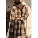Chic Plaid High Neck Long Sleeve Two-Piece Shift Mini Dress