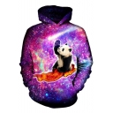 Brilliant Panda Bacon Galaxy Pattern Long Sleeves Pullover Hoodie with Pocket