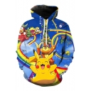 Cute Monster Cartoon Printed Long Sleeves Pullover Hoodie with Pocket