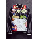 Popular Comic Cartoon Pattern Striped Long Sleeves Button Down Baseball Jacket
