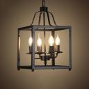 Industrial 4 Light Chandelier with Square Metal Cage in Open Bulb Style, Black