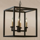 Industrial Chandelier with Square Metal Cage in Open Bulb Style, 4 Light