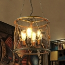 Industrial 4 Light Chandelier with 15''W Metal Mesh in Black