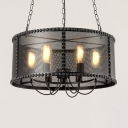 Industrial 20''W Chandelier with Metal Mesh in Black Finish, 6 Light